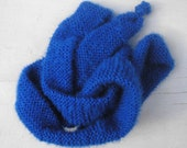 Royal blue purl fluffy skinny scarf