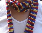 Red, blue and yellow skinny scarf