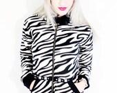 Death Kiss zebra fleece double lined pyramid stud hoodie