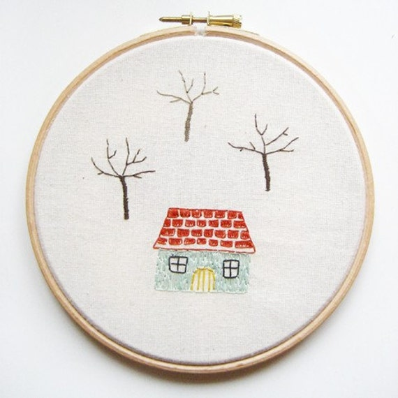 Cotton Doodle - house with trees - 6 inch