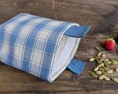 1 Reusable sandwich snack bag in organic cotton - Pale blue squares