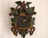 Adorable vintage german wooden carved painted cuckoo style clock