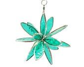 Flower Burst Stained Glass 3D spinnng flower star aqua silver (342)