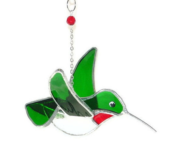 RESERVED for Judith - Three Hummingbird Stained Glass 3D Dimensional, Ruby Throated throat, Calliope, Rufous, Broad Tailed (322)