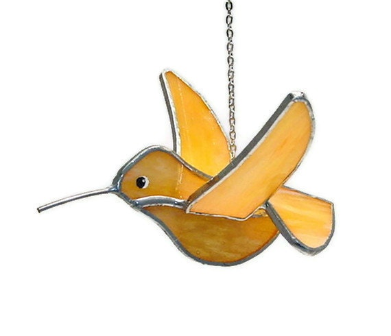 Rufous Hummingbird Stained Glass 3D Dimensional