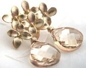 Gold earrings, Flower earrings, champagne Swarovski Crystal, gold flower post earrings