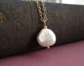 Nugget pearl necklace, freshwater pearl. bridesmaid necklace, gold or silver, pearl wedding jewelry, simple bridesmaid gift, pearl pendant