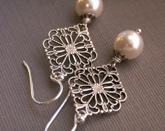 Pearl earrings, antiqued silver filigree, Swarovski Crystal pearls, sterling silver ear wires