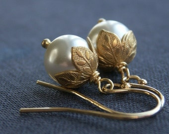 Flower bud pearl earrings, Swarovski Crystal pearl earrings, leaf bead caps, gold filled ear wires, gold earrings