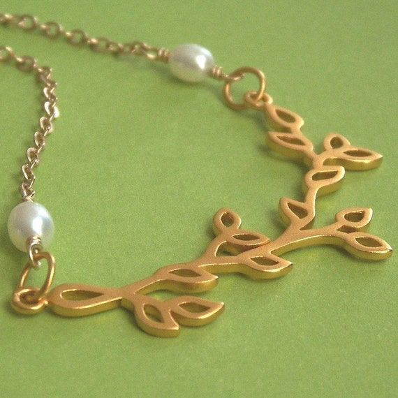 Golden Branch Necklace - Luxe Vermeil pendant on Gold Filled chain