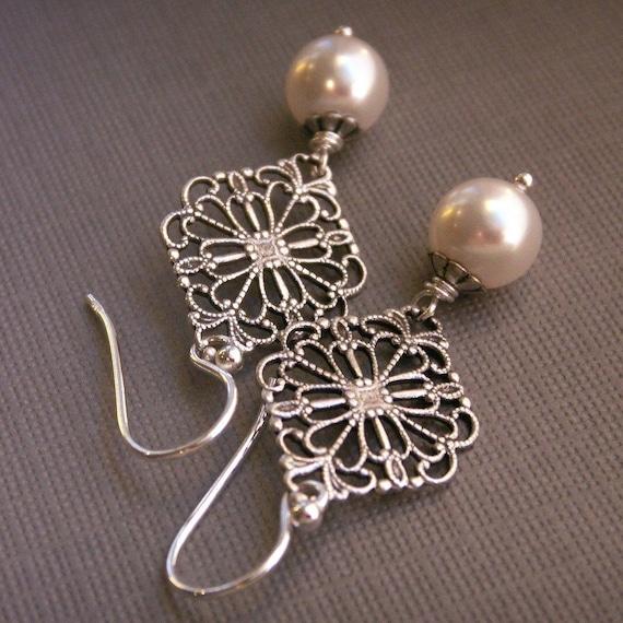 Pearl earrings, antiqued silver filigree, Swarovski Crystal pearls, sterling silver ear wires