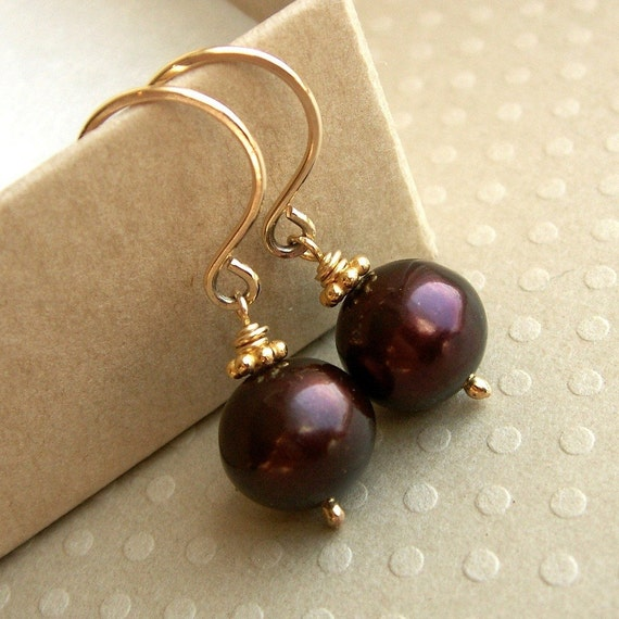 Chocolate Pearl Earrings - Rich brown freshwater pearls on gold fill