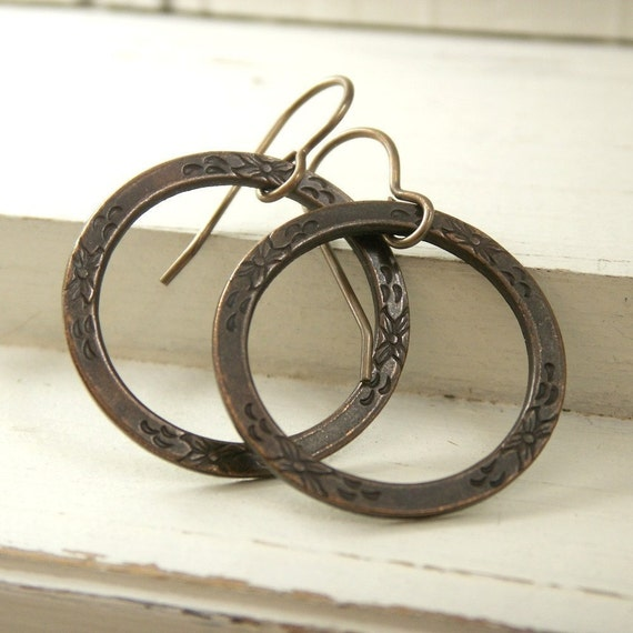 Hoop earrings, antiqued brass eternity hoops, etched flower design