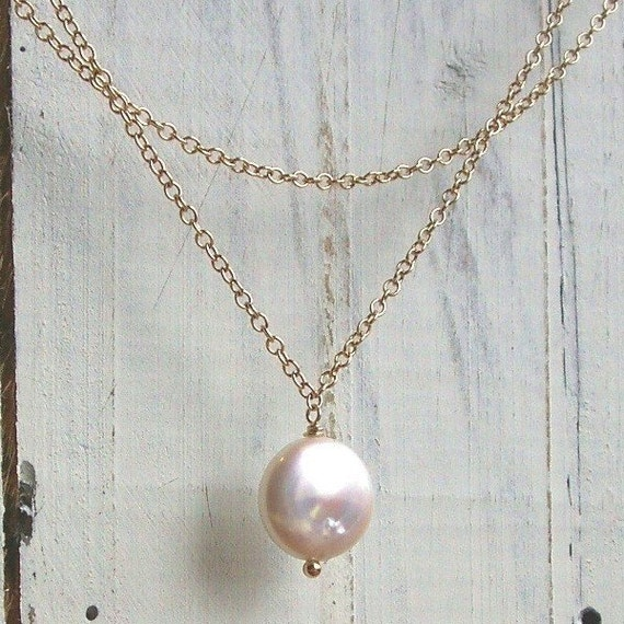 Simple coin pearl necklace, double strand necklace, freshwater coin pearl, bridesmaid necklace, gold or silver necklace, bridesmaid gift