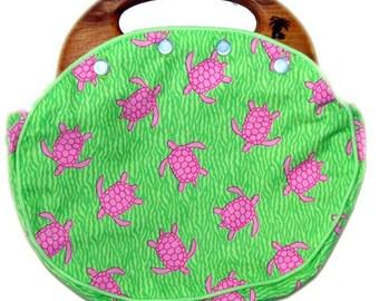 BERMUDA Bag Ladies with Reversible Cover in our Signature Pink Turtles Fabric CUSTOM HANDMADE