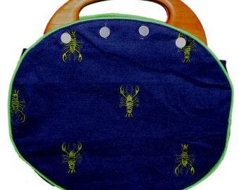 Ladies Bermuda Bag in Vintage Lilly Embroidered GREEN Lobsters