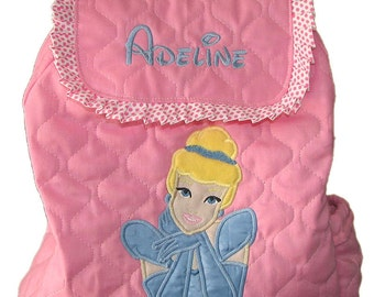 Toddler Girl PRINCESS/es Backpack Your choice of Princess design.Other Princesses are available as well.CUSTOM HANDMADE