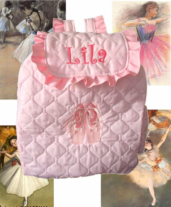 CUSTOM HANDMADE BALLET Toddler Backpack comes with Embroidered Toe Shoe Design and Monogrammed