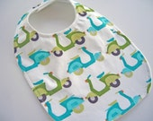 CLOSEOUT SALE - Organic Collection Baby/Toddler Bib - Blue Scooters