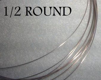 18 GA. 2 FT. Argentium Sterling Silver Wire Half Round 1/2 round, Dead Soft Anti Tarnish