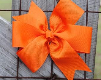 Bold Tangerine Orange Jumbo Preppy Pinwheel Hair Bow Hairbow