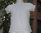 White Peasant Top  12M To 7, Peasant Top, Girls Peasant Top. White Blouse, Girl Blouse, Toddler Blouse, Toddler Top,White Top