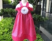 Custom Boutique Hot Pink Polka Dots Halter Dress