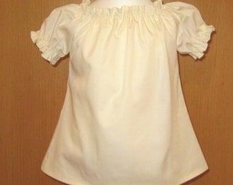 Cream Peasant Tops 12M To 7, Peasant Top, Gilr Blouse, Ivory Top,Toddler Top, Infant Top,Girl Peasant top
