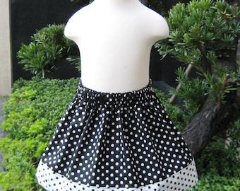 Black and White Polka Dots Skirt, Girl Skirt, Toddler Skirt, Infant Skirt, Polka Dots