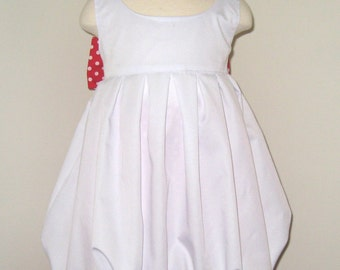 Girl Outfit, Sweet Bubble Style White Top And a Red Polka Dots Ruffles Pant, Polka Dots Ruffle Pant, Toddler Outfit, Red and White Outfit