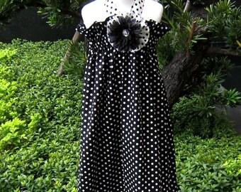 Polka Dots Black and White Halter Dress, Girl Halter Dress, Black and White Girl Dress, little Girl Dress, Girl Church Dress
