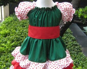 Custom Boutique Triple Ruffles Green White And Red  Peasant Dress, Girl Dress, Ruffle Dress, Twirly Dress