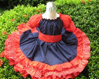 Triple Ruffle Patriotic Red Blue And White Polka Dots  Peasant Dress, Girl Dress, Blue Dress, Ruffle Dress