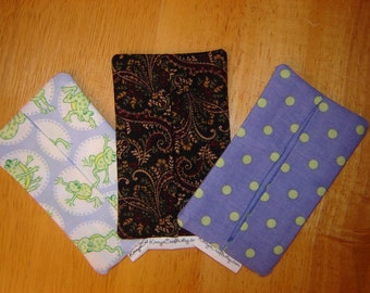 Tissue Cozy-your choice (Blue Frogs, Kensington Paisley, Periwinkle with Green Dots)
