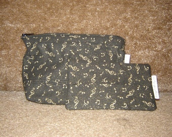 Zippered Pouch with Tissue Cozy-Black with Gold Music Notes (Zip 53-G)