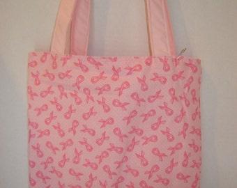 Small Tote-Pink Dots & Ribbons (Bag 331)