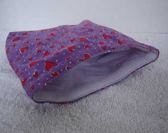 Eco Bag-Large-Red Hearts on Purple (Eco 26-L)