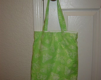 Large Tote-Sparkley Green with White Butterflies (Bag 143)