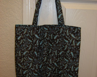 Large Tote-Turquoise Paisley on Brown  (Bag 191)