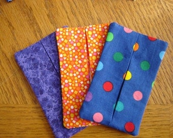 Tissue Cozy-Your Choice- Purple Sparkle or Blue with Colored Dots