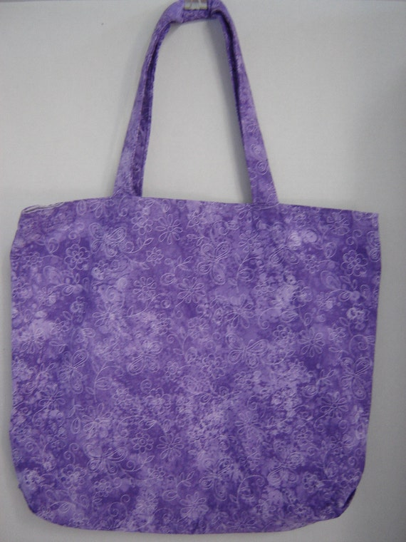 Large Tote-Outlined Flowers & Butterflies on Purple (Bag 350)