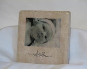 Custom made photo coasters with cursive word