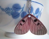 Pink Butterfly Wing-- Necklace