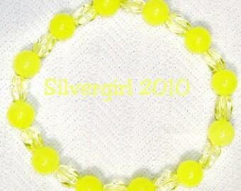 Lemon Lime Candy Jade Glass Beaded Stretch Bracelet
