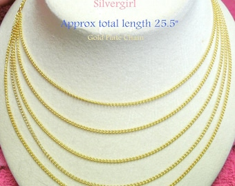 Gold Plated Drape Chain Necklace and Matching Earrings