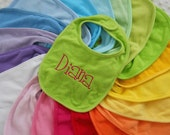 Personalized custom baby Bib with Embroidered NAME or MONOGRAM for baby girl or boy Choose from 22 CoLoRS