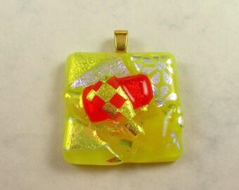 Funky Yellow and Orange Dichroic Glass Pendant