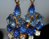 Vintage Recreated Blue Waterfall Sparkling Earrings