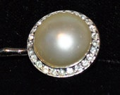 Vintage Recreated Cream Colored Pearl and Rhinestone Bobby Pin