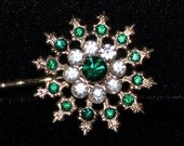 Emerald Star Burst Bobby Pin